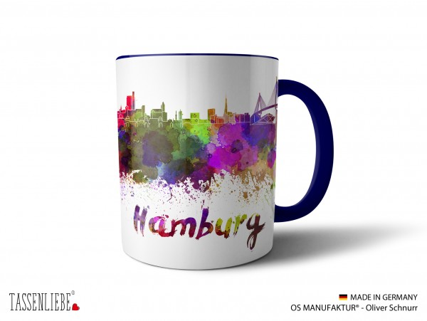 "Tasse ""Hamburg"" im Watercolor-Design"
