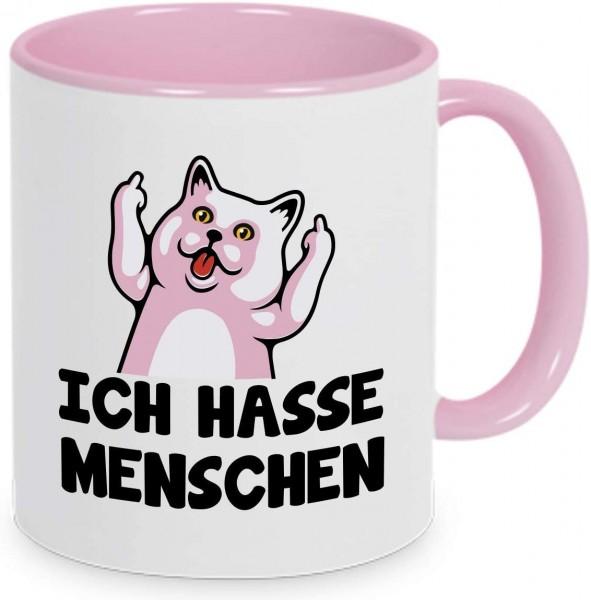 """Tasse mit Spruch """"Ich hasse Menschen"""" Rosa"""