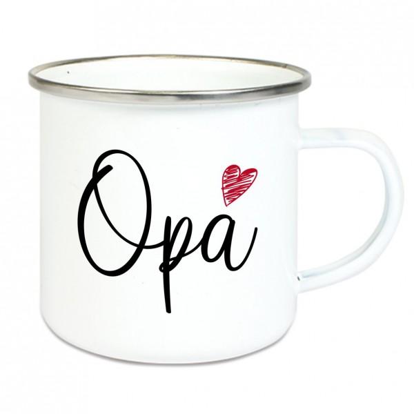 """Emaille Tasse mit Spruch """"Opa"""""""
