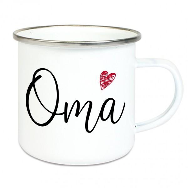 """Emaille Tasse mit Spruch """"Oma"""""""