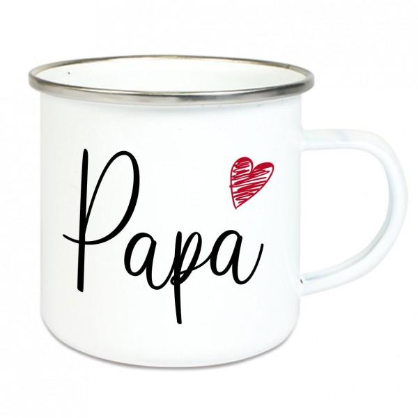 """Emaille Tasse mit Spruch """"Papa"""""""