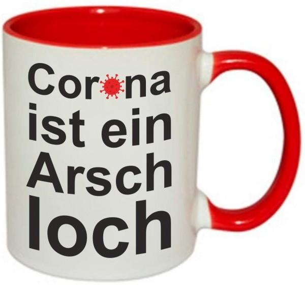 """Tasse mit Spruch """"Corona ist ein Arschloch"""" Rot"""