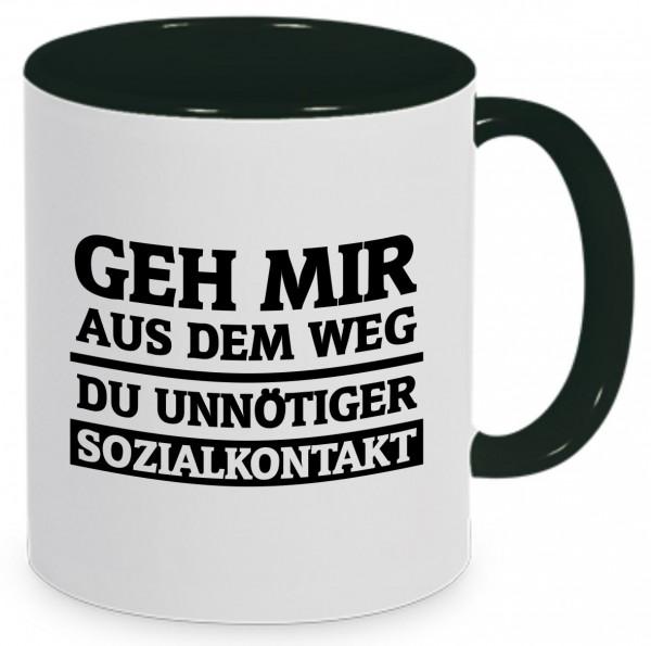 """Tasse mit Spruch """"Geh mir aus dem Weg du unnötiger Sozialkontakt"""""""